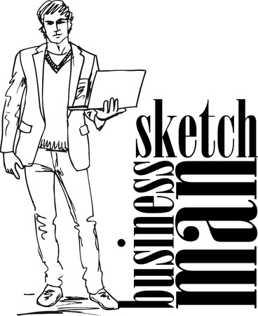 Sketch of fashion handsome man with laptop  Vector illustration  Stock Vector - 12387024
