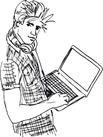 Sketch of Young man with laptop  Vector illustration  Vector