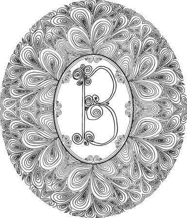 Hand draw font  Letter B  Vector illustration  Vector