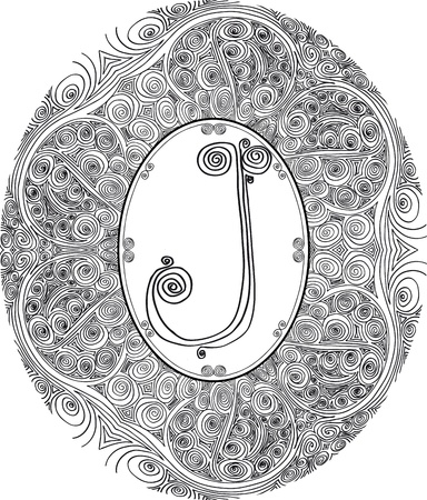 letter j: Hand draw font  Letter J  Vector illustration