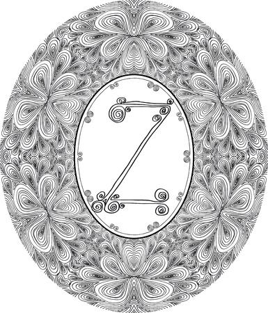 Hand draw font  Letter Z  Vector illustration  Vector