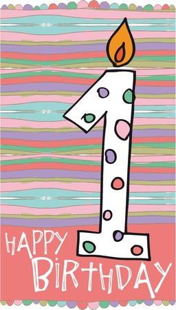 1st birthday: Illustration of Number 1 Birthday Candles with colorful background