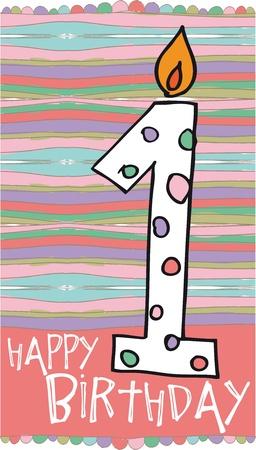 special education: Ilustraci�n de velas cumplea�os n�mero 1 con fondo de colores