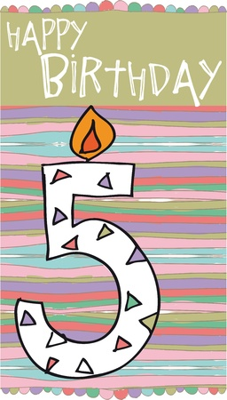 fifth: Illustration of Number 5 Birthday Candles with colorful background Illustration