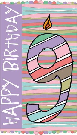 ninth: Illustration of Number 9 Birthday Candles with colorful background