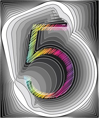 big five: Abstract font illustration