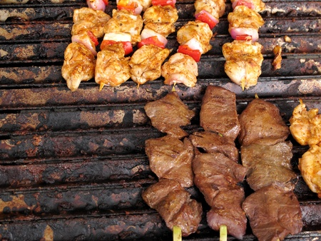 cheff: Chicken and meat brochettes Stock Photo