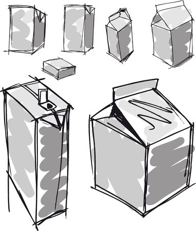 Sketch of milk boxes in some different angle  Vector illustration Vector