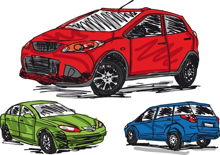 sketch of 3 cars  Vector illustration  Vector