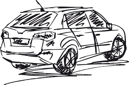 sketch of a cars  Vector illustration  Vector