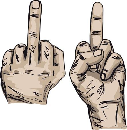 Boceto de espectáculo Mano a la mierda con el dedo medio Ilustración de vector