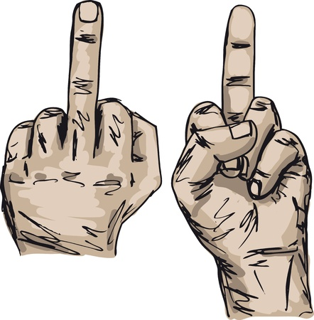 show off: Sketch of Hand show fuck off with the middle finger