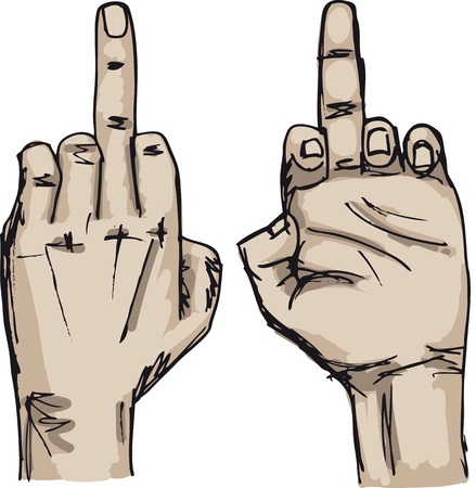 Sketch of Hand show fuck off with the middle finger  Vector