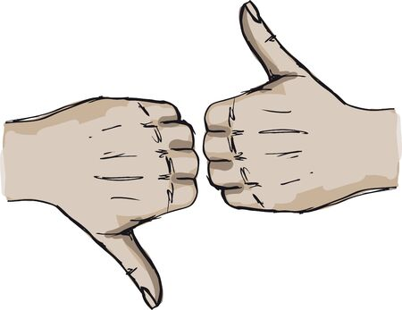 Sketch of Thumb up and thumb down hand signs  Vector illustration  Vector