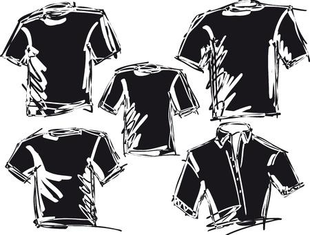 t shirt model: tee schizzo illustrazione vettoriale Vettoriali