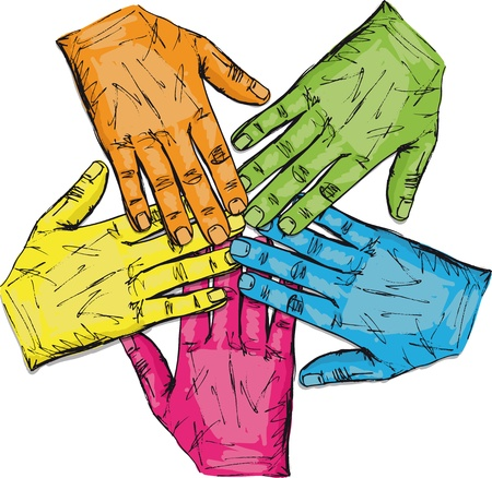 Colorful group of hands isolated on white  Vector illustration Stock Vector - 12713162