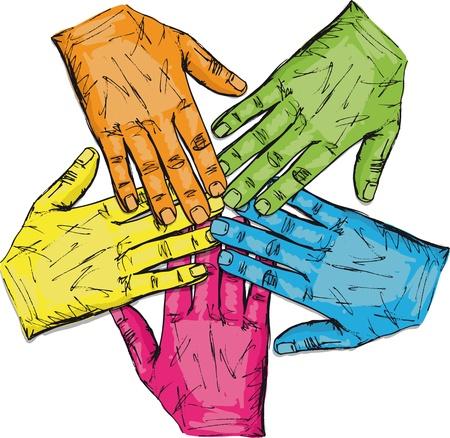 manos unidas: Colorido grupo de las manos aisladas en la ilustración vectorial blanco Vectores