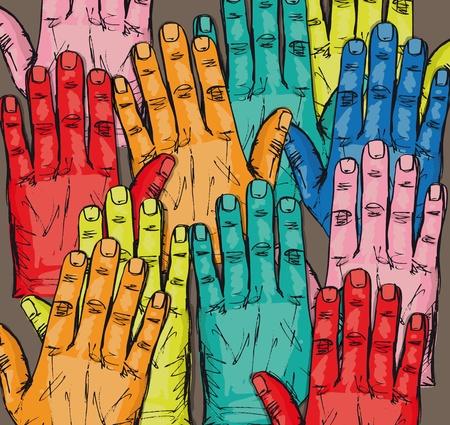 Esquisse d'un groupe de bénévoles élever Vector illustration mains