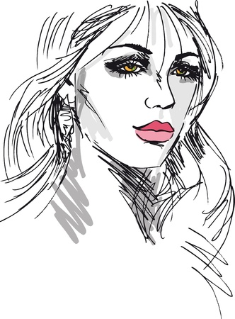 Sketch of beautiful woman face  Vector illustration Stock Vector - 12713158