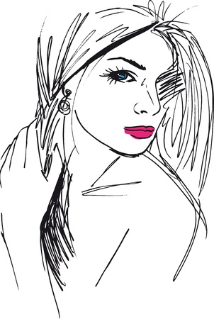 fashion sketch: Sketch of beautiful woman face  Vector illustration