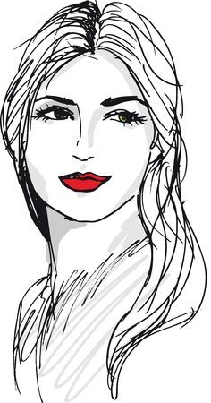 ilustracion: Boceto de ilustraci�n vectorial y bella mujer la cara Vectores