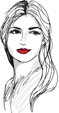 woman illustration: Sketch of beautiful woman face  Vector illustration