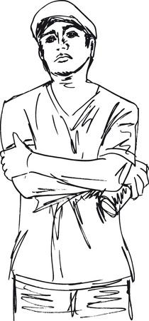 hoody: Эскиз молодой человек с банкой Векторные иллюстрации брызги Иллюстрация