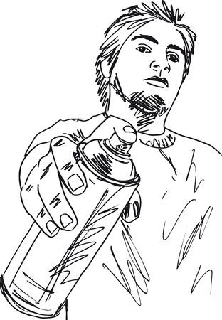 verfblik: Schets van jonge man met een blikje spray Vector illustratie