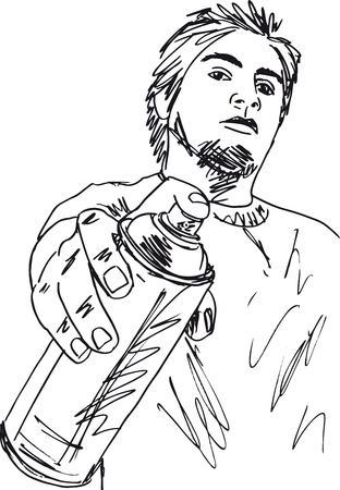 paint tin: Sketch of young man with a tin of spray  Vector illustration  Illustration