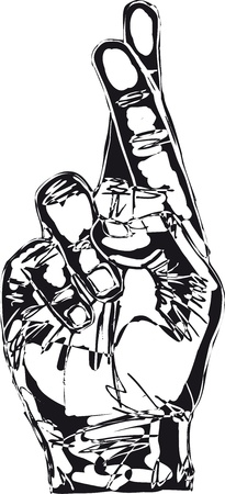 crossed fingers: Sketch of Hand with crossed fingers  Vector illustration