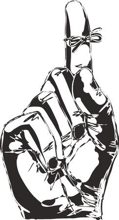 mani legate: Sketch della mano destra con lo spago ricordo legato al dito indice Vettoriali