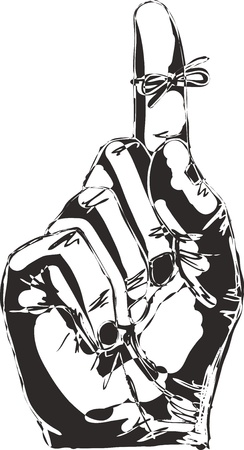 memorize: Sketch of Right hand with reminder string tied to index finger
