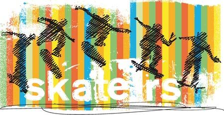 Abstract Skateboarder jumping  Vector illustration Vector