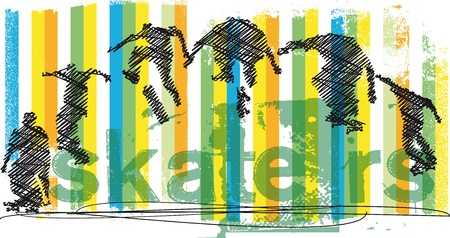 skateboarder: Abstract Skateboarder jumping  Vector illustration Illustration