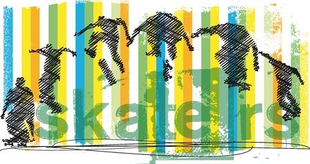 skateboard park: Skater saltando Resumen ilustraci�n vectorial Vectores