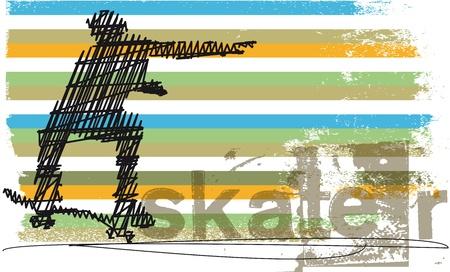 skater: Abstract Skateboarder jumping  Vector illustration Illustration