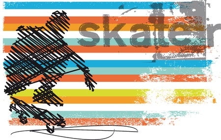 Abstract Skateboarder jumping  Vector illustration Çizim
