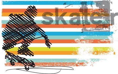 patín: Resumen ilustración vectorial Skater saltando