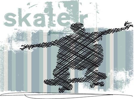 skateboard park: Abstract Skateboarder jumping  Vector illustration Illustration