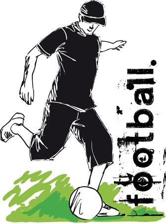 futbol: Soccer Player Kicking vettore sfera