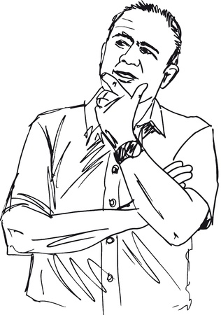 Sketch of thoughtful mature man  Vector illustration Stock Vector - 12713050