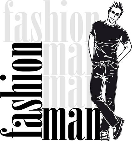 Sketch of fashion handsome man  Vector illustration Stock Vector - 12713056