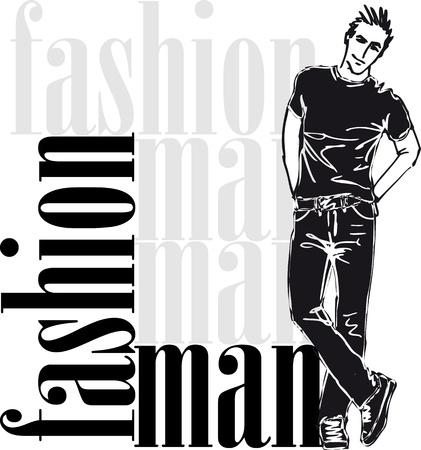 casual wear: Sketch of fashion handsome man  Vector illustration