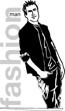 t shirt model: Sketch of fashion handsome man  Vector illustration