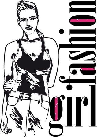 sketch of Sexy fashion girl  Vector illustration Stock Vector - 12713055