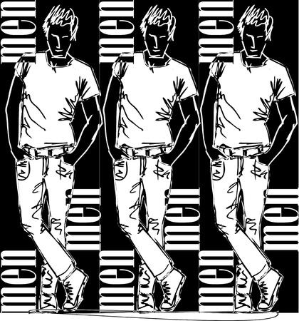 Sketch of fashion handsome man  Vector illustration Stock Vector - 12713042