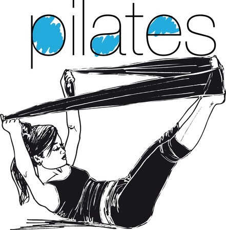 Sketch of pilates woman rubber resistance band fitness sport gym  Vector