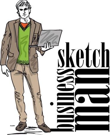 ふだん着: ベクトル イラストのラップトップとファッション ハンサムな男のスケッチ  イラスト・ベクター素材