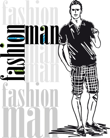 t shirt model: Sketch di illustrazione vettoriale bell'uomo moda