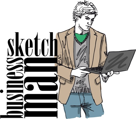 Sketch of fashion handsome man with laptop  Vector illustration  Stock Vector - 12713029